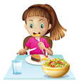 A little girl eating lunch vector image vector image