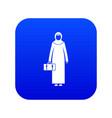 arabic woman icon digital blue vector image vector image