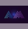 blue pink am a m gradient alphabet letter vector image vector image