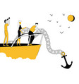 business people on boat with anchor vector image