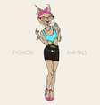 caracal cat dressed up in swag style vector image vector image