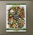 cartoon hand drawn doodles italian food poster vector image