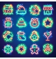 Christmas Neon Icons with Magic Sparkles vector image
