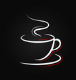 coffee cup logo on black background vector image vector image
