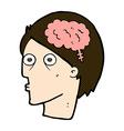 comic cartoon head with brain symbol vector image