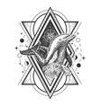 creative geometric ocean dolphin tattoo art vector image vector image