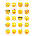 cute cartoon emoticons emoji icons set vector image