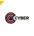cyber security and defender line letter c vector image
