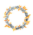 dark grey fern and yellow leaves wreath watercolor vector image vector image