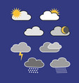 different clouds with the sunrainweather symbols vector image