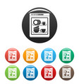 dishwasher icons set color vector image vector image