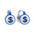 dollar symbol on blue advertising wobblers vector image