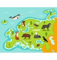 European map with wildlife animals vector image vector image