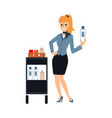 female flight attendant serving drinks from food vector image vector image