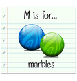 Flashcard letter M is for marbles vector image vector image