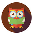 Flat Wisdom Bird Owl Reading Book Circle Icon with vector image vector image