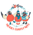 Funny Merry Christmas card with three birds vector image vector image