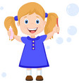 girl with toothbrush cartoon vector image vector image