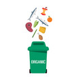 green garbage organic bin white background vector image vector image