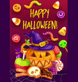 halloween trick or treat candy pumpkin witch hat vector image vector image