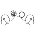 hand drawn two humans head silhouette psycho vector image