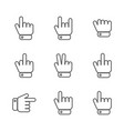 hand gestures icons from thin lines vector image