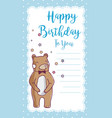 happy birthday card with bear vector image