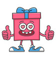happy valentines day gift box giving thumbs up vector image