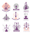 hookah club logo labels set isolated on white vector image vector image