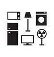 house electronics icon set with oven freezer lamp vector image vector image