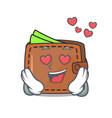 in love wallet mascot cartoon style vector image vector image