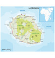 la reunion road and national park map vector image vector image