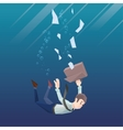 Man in office wear goes down under water vector image vector image