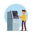 man using atm machine vector image vector image
