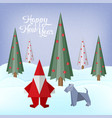 merry christmas greeting card with origami made vector image