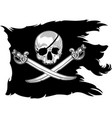 pirate flag with a skull vector image vector image