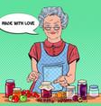 pop art senior woman making jam healthy eating vector image vector image