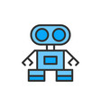 robot flat color line icon isolated on vector image