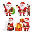 santa claus with presents icon vector image vector image