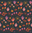 seamless floral pattern with hand drawn wild vector image vector image