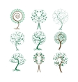 Set of decorative trees for design vector image vector image