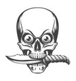 skull with eyes and knife in teeth vector image vector image