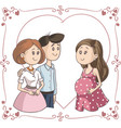 smiling couple next to surrogate mother ill vector image vector image