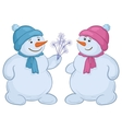 snowmen with snow flowers vector image