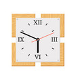 square modern wooden wall clock vector image vector image