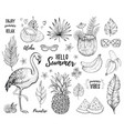 summer tropic sticker set flamingo cocktail vector image