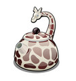 the kettle in the form of a giraffe isolated on a vector image vector image