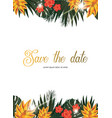 tropical poster with tropical leaves and flowers vector image vector image