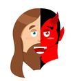 Two face Jesus and devil Half face of Son of God vector image vector image