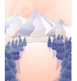winter landscape mountains and forest at sunset vector image